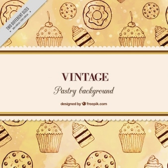 Hand drawn sweets background in vintage style