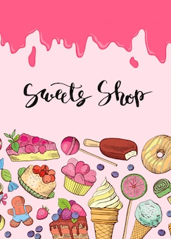 Hand drawn sweets banner