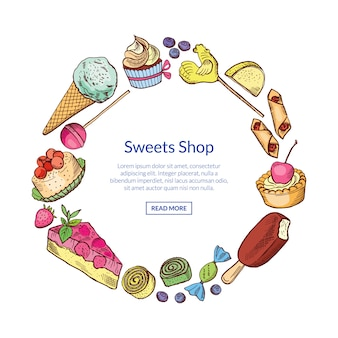Hand drawn sweets in circle
