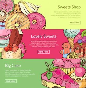 Hand drawn sweets horizontal banner