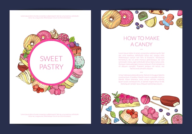 Hand drawn sweets, pastry shop or confectionary banner