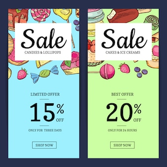 Hand drawn sweets sale template banner
