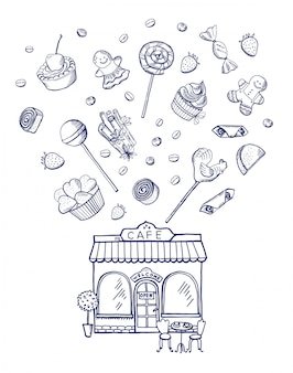 Hand drawn sweets spreading out of pastry shop building