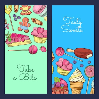 Hand drawn sweets vertical banner