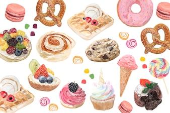 手描きのお菓子の水彩スタイル