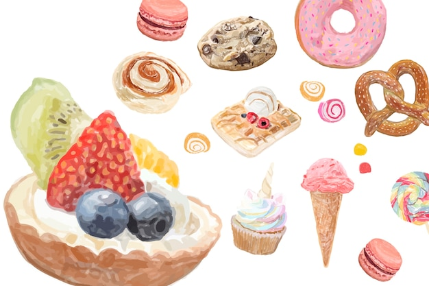 Hand drawn sweets watercolor style