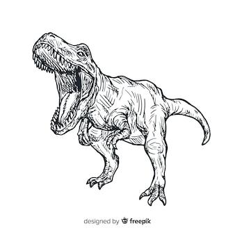 Hand drawn t-rex background