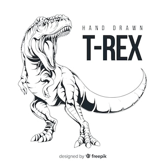 Hand drawn t-rex background