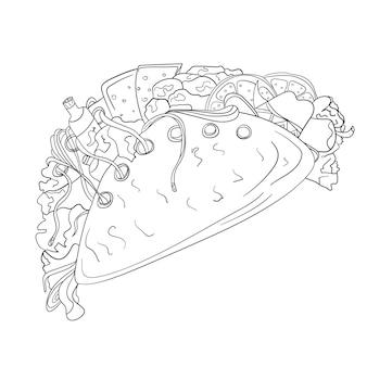 Значок руки нарисованные тако. векторный значок стиля эскиза быстрого питания для брошюр, баннеров, меню ресторана и кафе