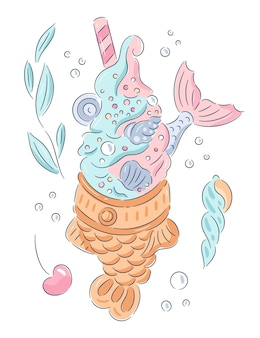 Hand drawn taiyaki fish-shaped with cream