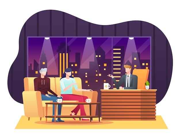 Нарисованная рукой иллюстрация ток-шоу