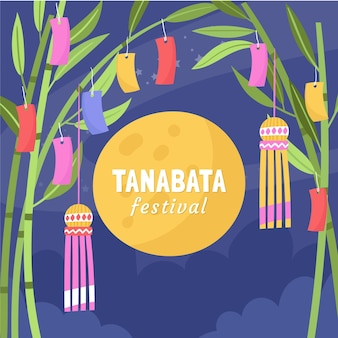 Hand drawn tanabata illustration