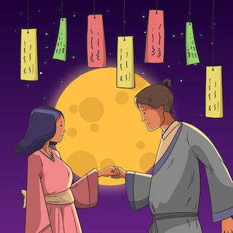 Illustrazione di tanabata disegnata a mano