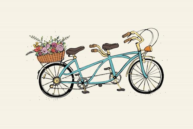 Ручной обращается тандем городской велосипед с корзиной цветов. винтаж, ретро стиль эскиз векторные красочные иллюстрации.