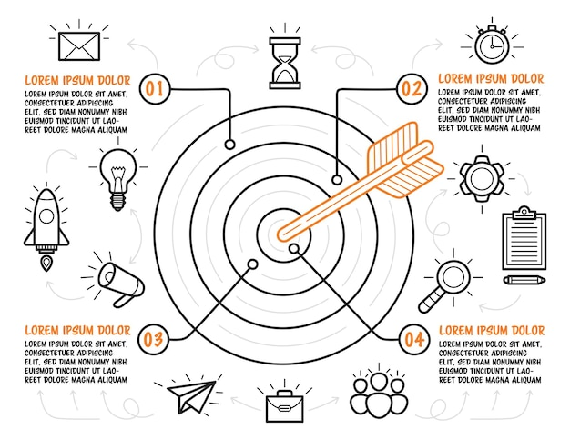 Hand drawn target with arrow in center and business icons around. infographic template with four steps with description. vector.
