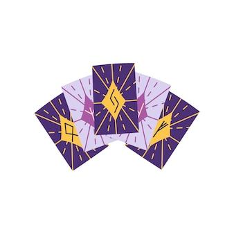魔術とハロウィーンの概念を持つ手描きのタロットカード