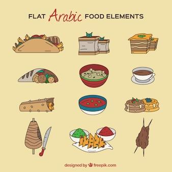 Hand drawn tasty arabic food dishes