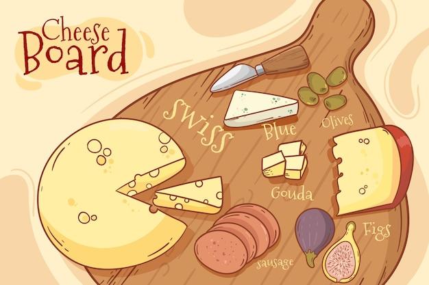 Tagliere di formaggi gustosi disegnati a mano
