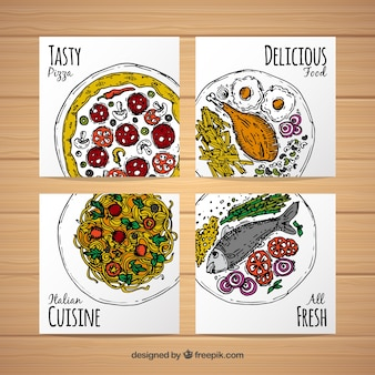 Hand drawn tasty food card collection