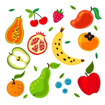 Hand drawn tasty fruit set