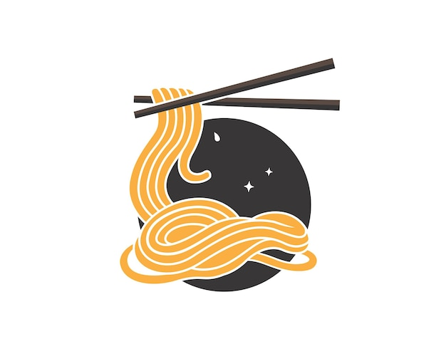 Hand drawn tasty noodle in a bowl