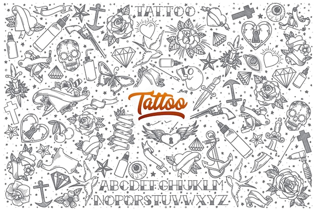 Hand drawn tattoo doodle set background with orange lettering