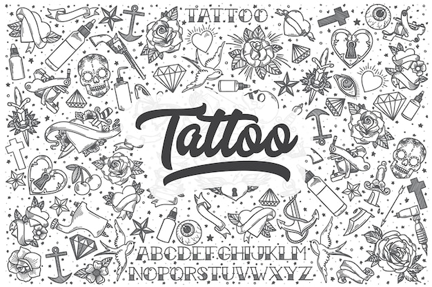 Hand drawn tattoo doodle set. lettering - tattoo