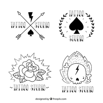 Hand drawn tattoo studio logos, black and white