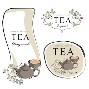 Hand drawn tea banner elements vector illustration