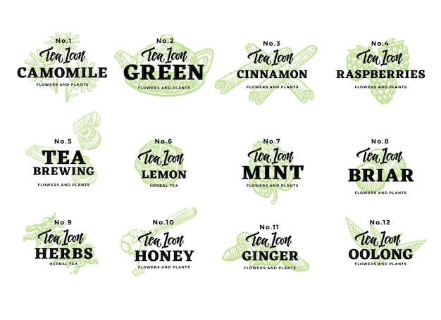 Набор рисованной чайных логотипов