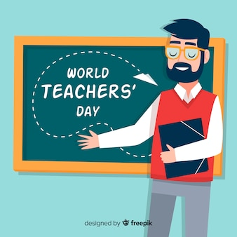 Hand drawn teachers day background
