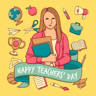 Hand drawn teachers' day background