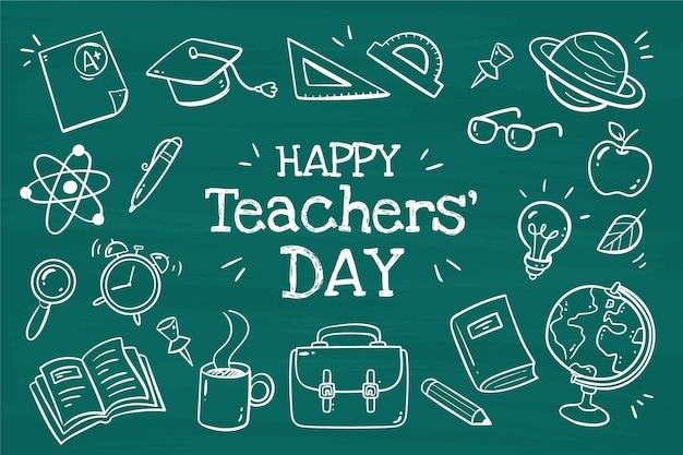 Sfondo del giorno degli insegnanti disegnato a mano