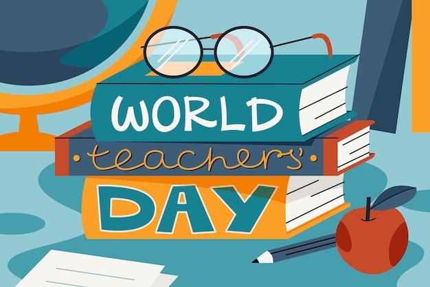 手描きの教師の日の背景