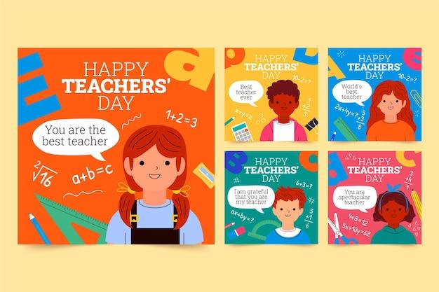 Hand drawn teachers' day instagram posts collection