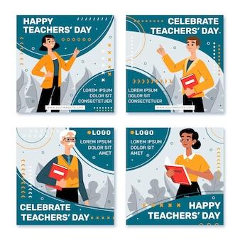 Collezione di post instagram per la giornata degli insegnanti disegnati a mano