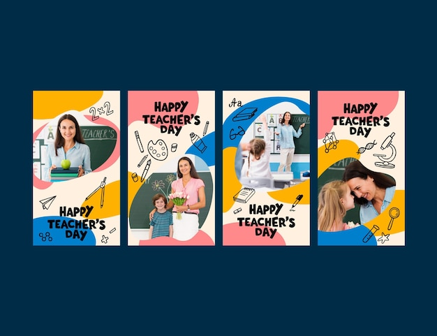 Hand drawn teachers' day instagram stories collection with photo