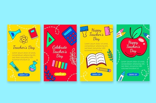 Hand drawn teachers' day instagram stories collection