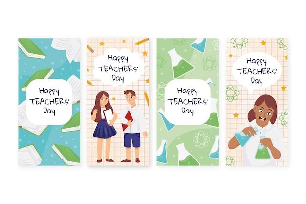 Raccolta di storie di instagram disegnate a mano per la giornata degli insegnanti