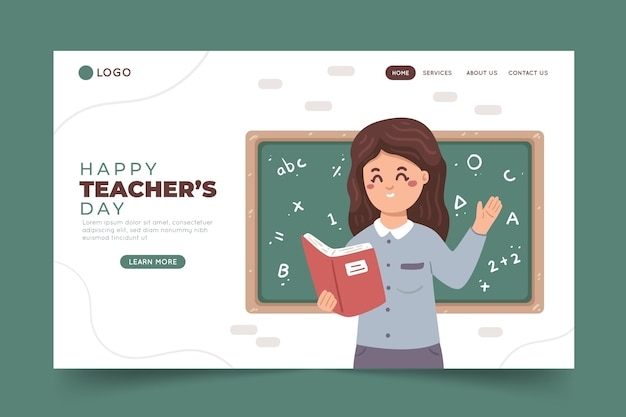 Hand drawn teachers' day landing page template
