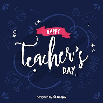 Hand drawn teachers day lettering