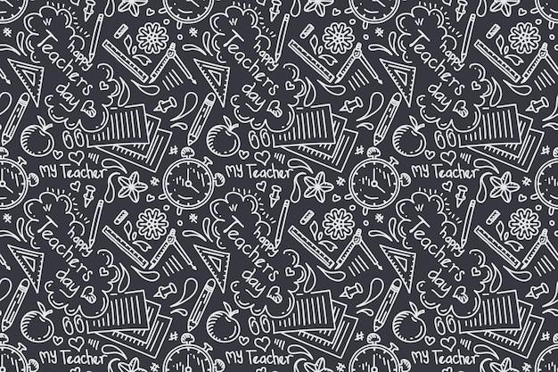 手描きの先生の日シームレスパターン黒板スタイル