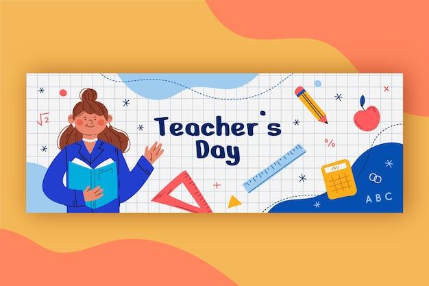 Hand drawn teachers' day social media cover template