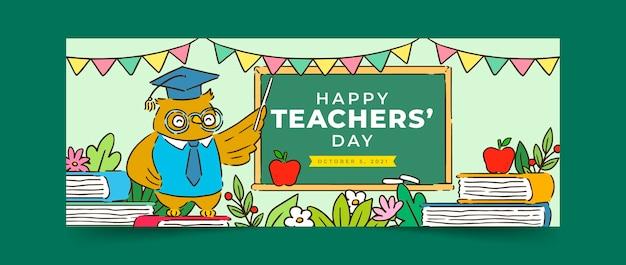 Modello di copertina per social media del giorno degli insegnanti disegnato a mano