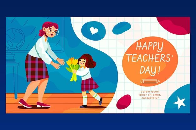 Hand drawn teachers' day social media post template