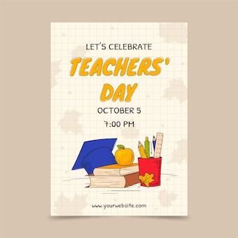 Hand drawn teachers' day vertical flyer template