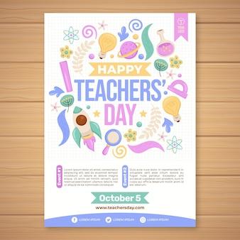 Modello di volantino verticale per la giornata degli insegnanti disegnato a mano