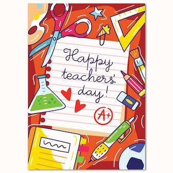 Hand drawn teachers' day vertical poster template