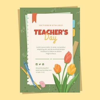 Ручной обращается шаблон вертикального плаката день учителя