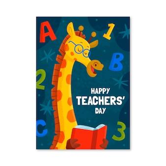 Modello di poster verticale del giorno degli insegnanti disegnato a mano